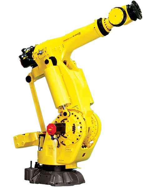 The M-900iB is a heavy payload robot with a wrist capacity of 280kg - 700kg. A wide motion envelope and outstanding motion preformance makes this robot ideal for large, heavy part handling.