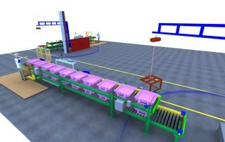 3D rendering of CDLR conveyor with Gorbel jib cranes