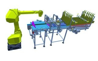 3D CAD model of FANUC robot pick and place application