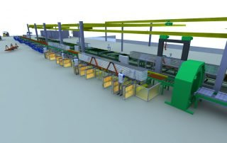 3D model CAD of conveyor line and overhead hoists
