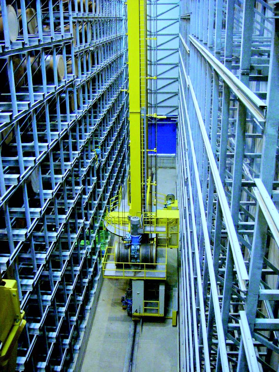 Overhead view of a stacker crane operating in push back storage for an ASRS system