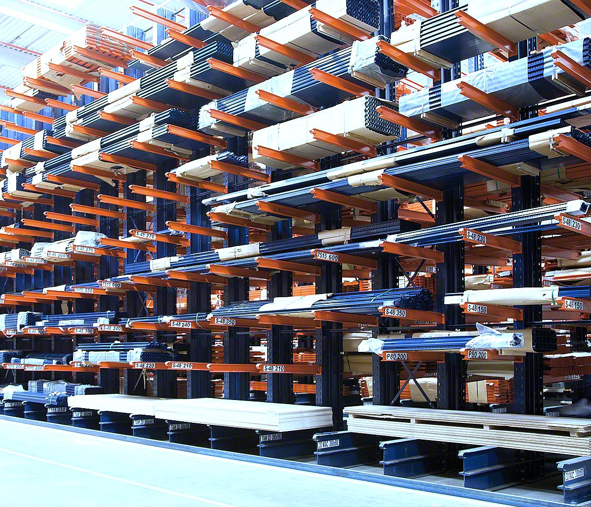 Interlake Mecalux Cantilever Rack row with product