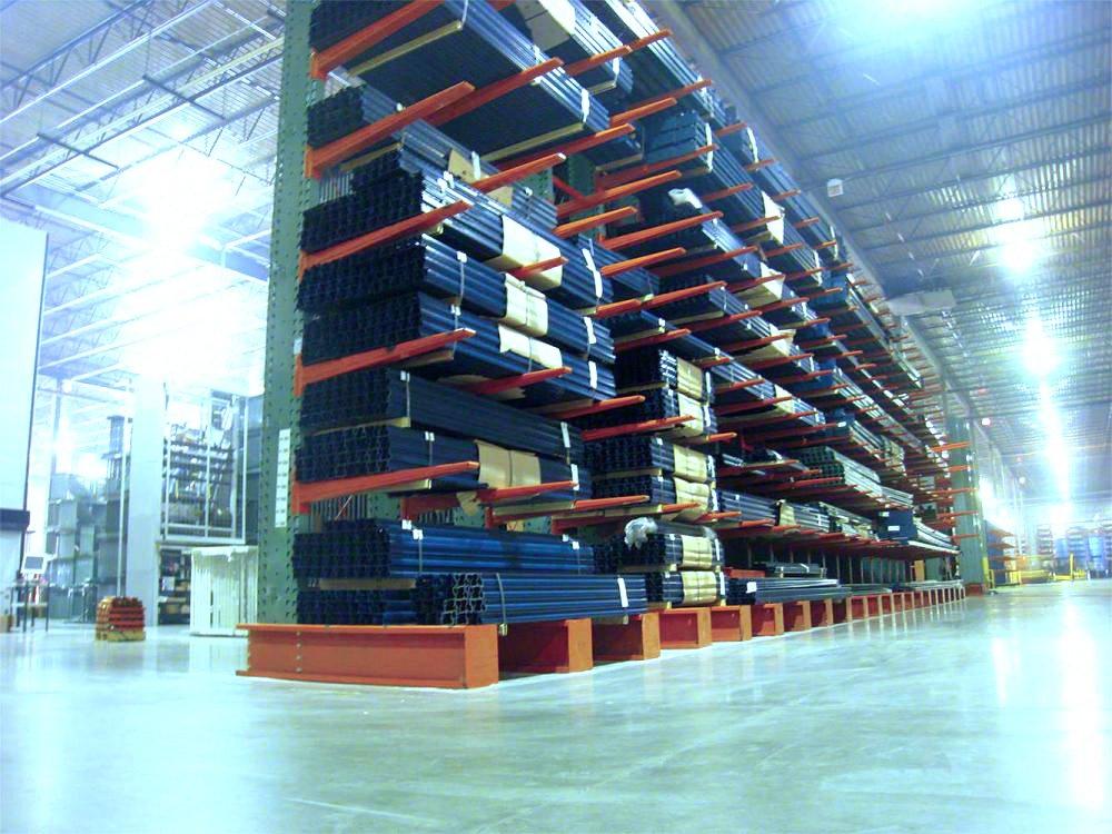 Interlake Mecalux Cantilever Storage Rack holding product