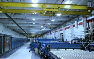 Overhead bridge crane in assembly facility