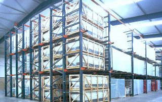 Interlake Mecalux Drive in Pallet Rack System fill with product in warehouse facility