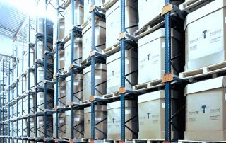 Interlake Mecalux Drive in Pallet Rack filled with boxed product