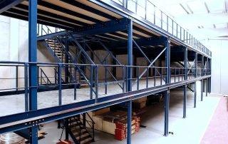3 floor mezzanine installation in industrial warehouse