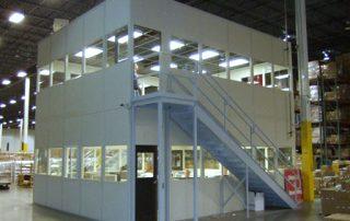 2 floor modular office installation in warehousing facility