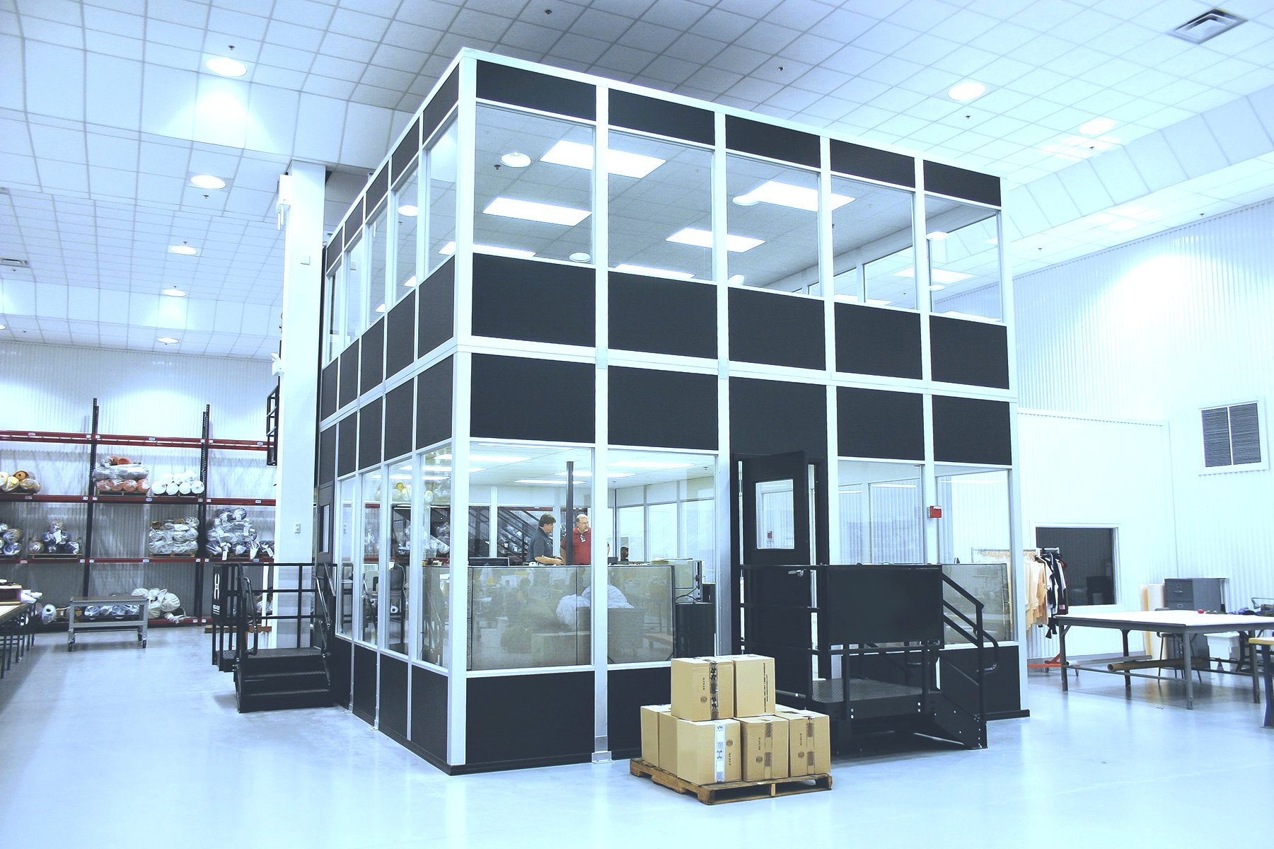 2 floor modular office installation with 360 degree windowed view of facility
