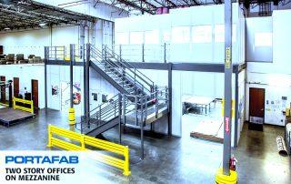 2 floor Portafab modular office installation in distribution center