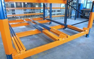 View of lower row in Interlake Mecalux Push Back Pallet Rack.