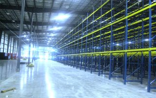 Interlake Mecalux Selective Pallet Rack installation in new warehouse facility.