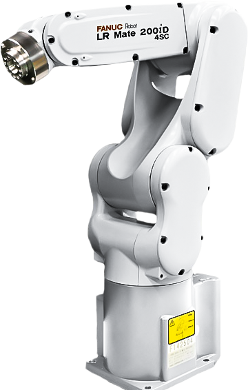 The LR Mate 200iD is a compact six-axis mini robot with the approximate size and reach of a human arm.