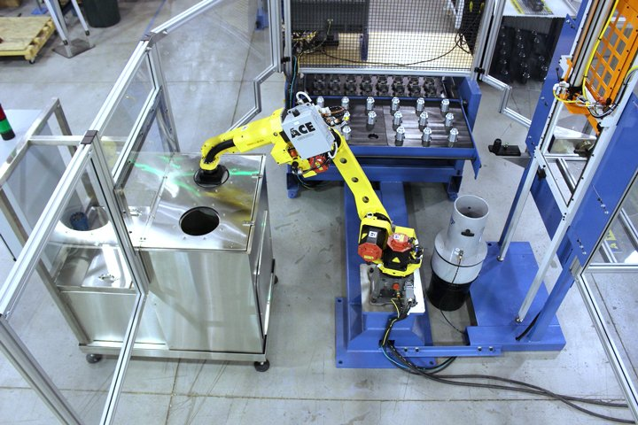 Adaptec MT Series robotic drawer top Load part with Wash And Dry application using FANUC pick and place robot