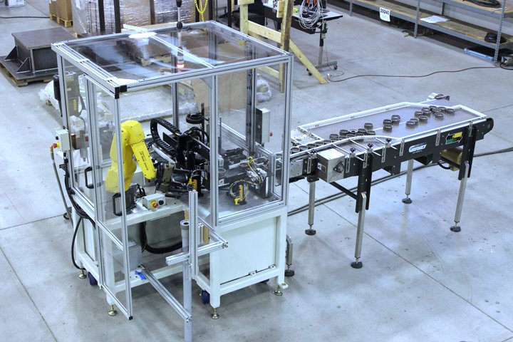 Adaptec Robotic Pulley Assembly Cell using a FANUC LRMate 200iD Robot