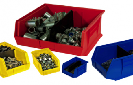 Stackable plastic industrial storage bins of different sizes