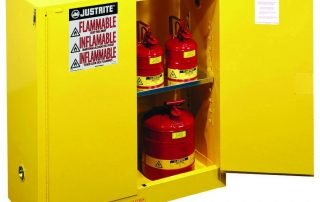Industrial storage cabinet with flammable warning