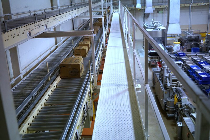 Hytrol Zero Pressure Conveyor lines moving packages to a sortation system