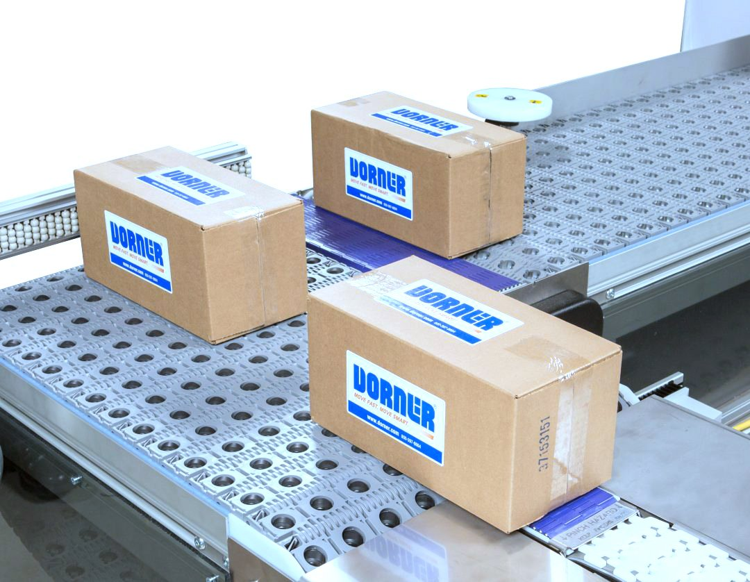 Dorner Activated Roller Belt Conveyor (ARB) moving product with a 90 degree turn in the line