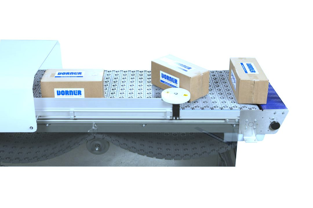 Dorner Activated Roller Belt Conveyor (ARB) with 3 packages exiting a line