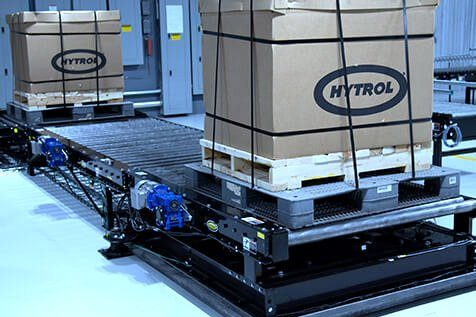 Hytrol Chain Driven Live Roller Conveyor CDLR with 2 pallet loads exiting the line