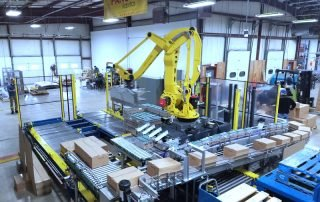 Fanuc Carton Palletizer with carton product running on a single infeed line